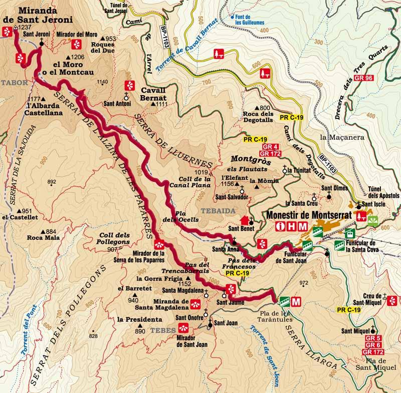 Randonnée Montserrat Sant Jeroni Catalogne